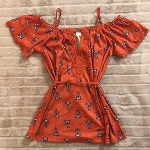 Venus orange print cold shoulder summer top M nwot